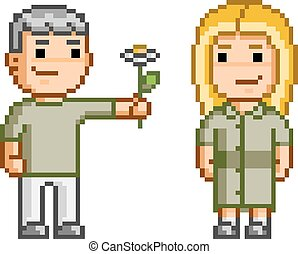 Pixel art Love and flowers