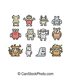 Pixel art monsters and animals collection