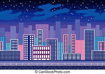 Pixel art night city background detailed vector illustration
