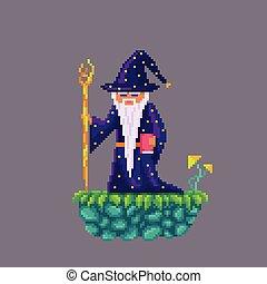 Pixel art old wizard. - Pixel art old wizard with a stick.
