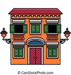 Pixel art orange italian house with street lights isolated vector