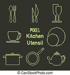 Pixel art outline kitchen utensil icons