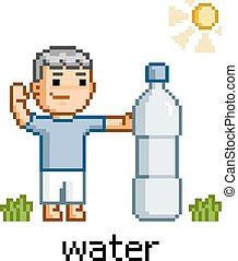 Pixel art people and bottle of water