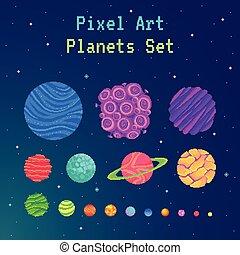 Pixel art planets set . Cartoon collection for design. ...