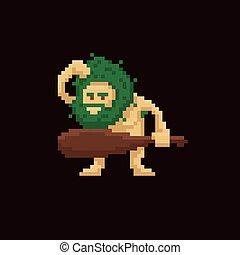 Pixel art primitive ancient cave man holding a club. Vector illustration character. Game asset 8-bit sprite