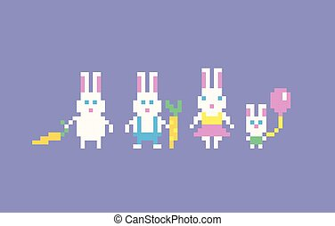 Pixel art rabbits family. Easter bunny. Vector illustration