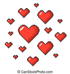 Pixel art red hearts detailed isolated vector