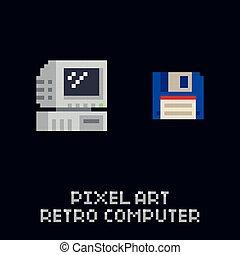 Pixel art retro computer and blue floppy diskette icon - vintage 8 bit vector set on dark background