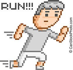 Pixel art running man for design