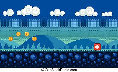 Pixel art seamless background. Landscape for game or ...