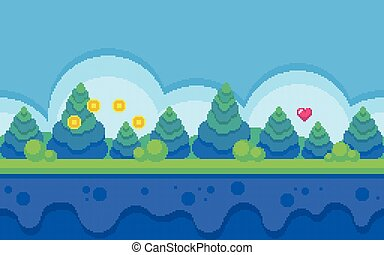 Pixel art seamless background. Location with forest at day. ...