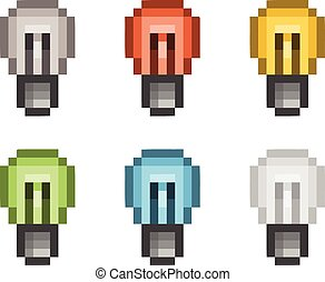 Pixel art set lightbulb