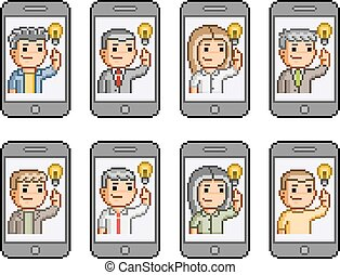 Pixel art set people communicate on smartphones