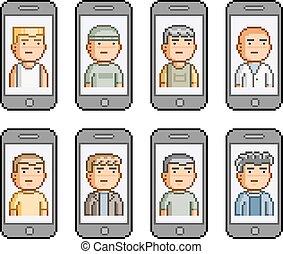 Pixel art set. People communicate on smartphones