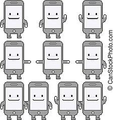 Pixel art smart phones