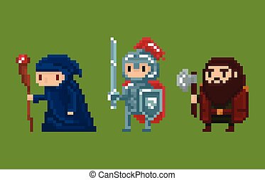 Pixel art style illustration wizard, knight and dwarf...