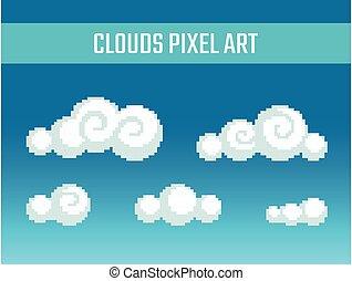 Pixel art stylized clouds. - Set of pixel art stylized ...