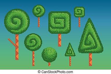 Pixel art stylized trees. - Set of pixel art stylized trees ...