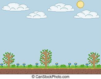 Pixel art summer sunny day