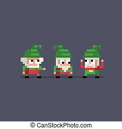 Pixel art three cute gnomes. Vector illustration