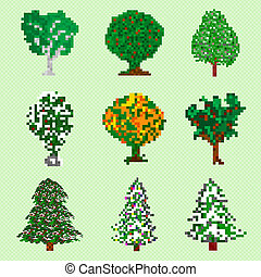 pixel art trees collection isolated objects