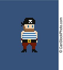 Pixel art vector illustration - 8 bit pirate in sailor suit and bandana