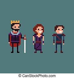 Pixel art vector illustration retro 8 bit fantasy kingdom, king, queen, prince