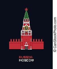 Pixel art vector illustration - Russia Moscow Kremlin, Spasskaya tower. isolated 8 bit pixelated landmark icon