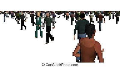 Pixel art walking men and women animation
