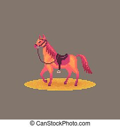 Pixel art western horse. - Pixel art western horse with ...