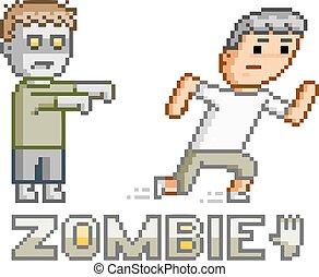 Pixel art zombie and man - Pixel art zombie for 8 bit game ...