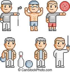 pixel, arte, colección, de, vario, deportes