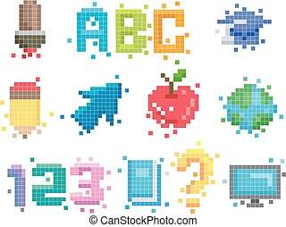 pixel, arte, educación, elementos, ilustración