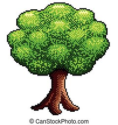 Pixel big tree isolated vector
