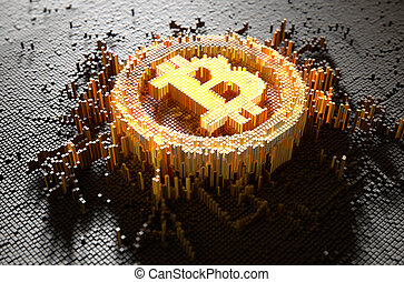 Pixel Bitcoin Concept - A 3D render of a microscopic closeup...