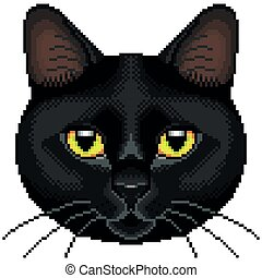 Pixel black cat face isolated vector