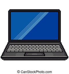 Pixel black laptop computer detailed isolated vector