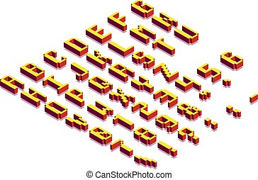 Pixel Blocky Isometric Latin Font. Letters, Numbers and Symbols