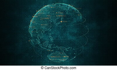 Pixel blue 3D planet Earth with big data animation. Rotating globe, shining continents with floating numbers. Abstract cyber animation with depth of field and glow. 4K, loop, UHD ProRes