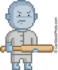 Pixel blue goblin for 8 bit video game