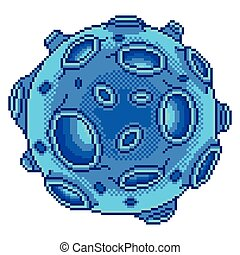 Pixel blue planet with craters isolated vector