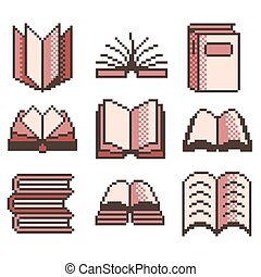 Pixel books for games icons vector set