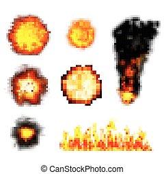 pixel boom. retro game explosions. vector set
