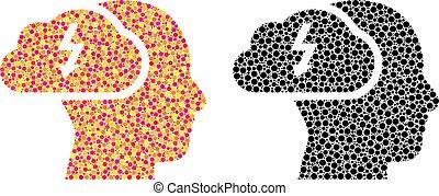 Pixel Brainstorming Mosaic Icons