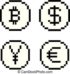 Set of four 8 bit pixel art coin icons. Balck and white concept of currency. Dollar, bitcoin, yen, euro.