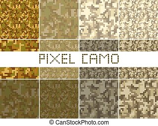 Pixel camo seamless pattern Big set. Green, forest, jungle, ...