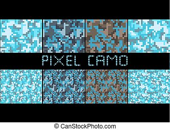 Pixel camo seamless pattern Big set. Urban blue camouflages...