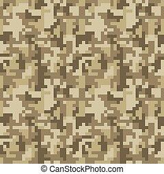 Pixel camo seamless pattern. Brown desert or jungle...