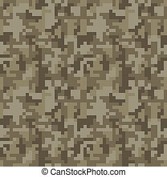 Pixel camo seamless pattern. Brown desert or jungle...