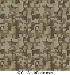 Pixel camo seamless pattern. Brown desert or jungle ...